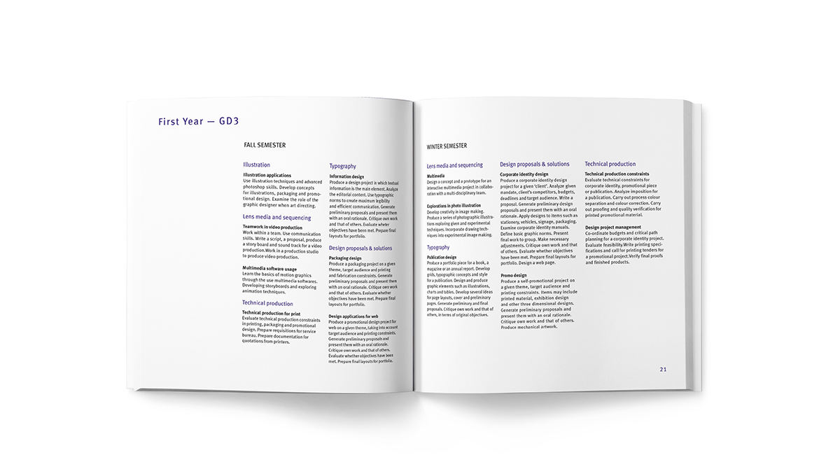 Gif of Dawson College Course Catalogue designed by Meghan Dove