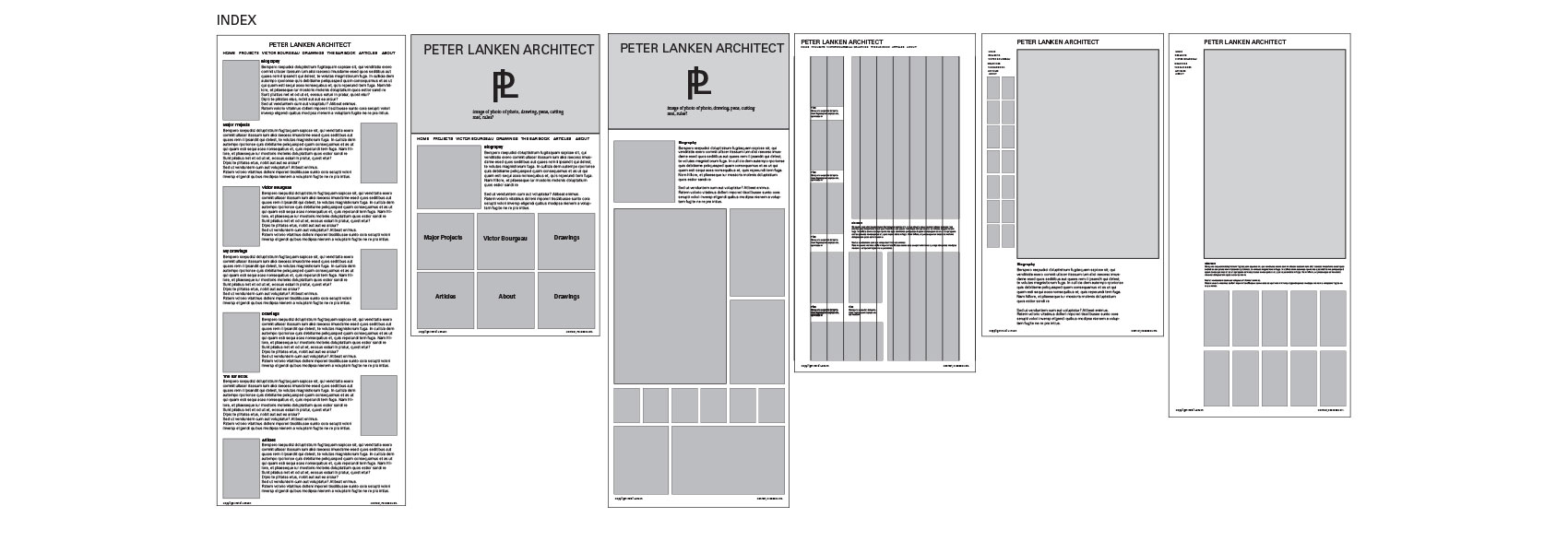 Wireframes for Peter Lanken's website