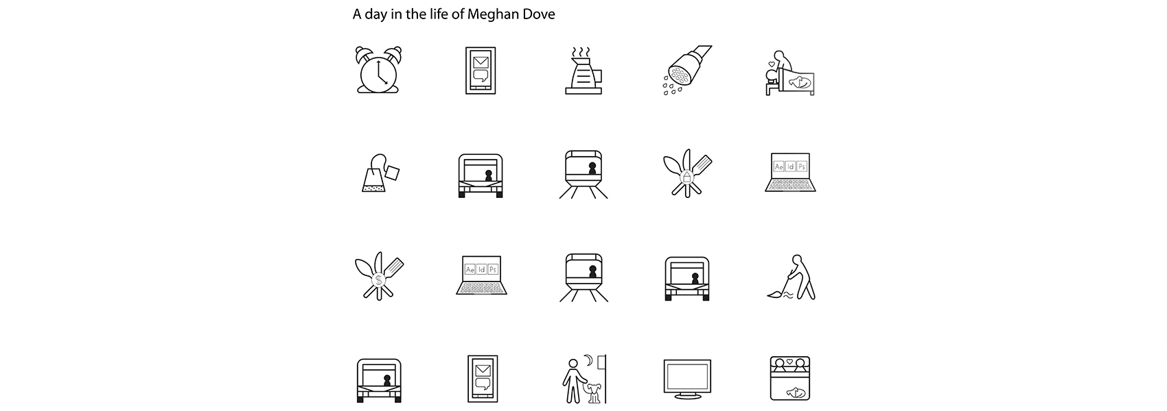 A page of icons designed by Meghan Dove