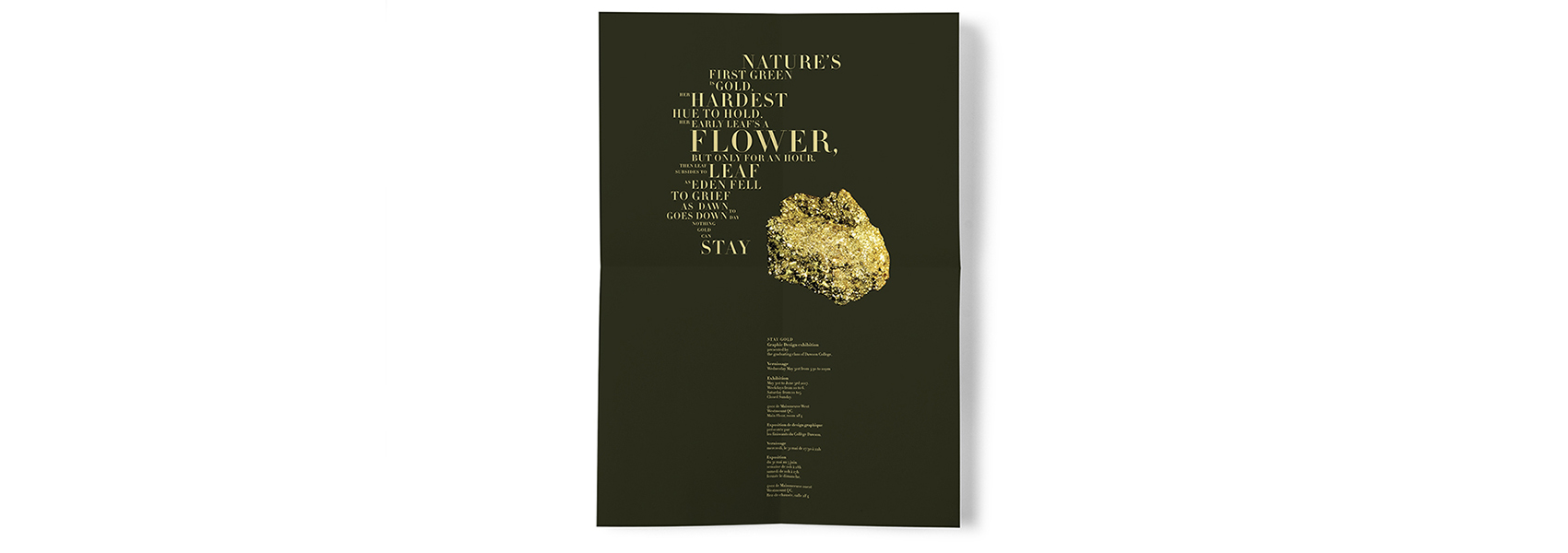 Image of Poster featuring Gold and a Robert Frost Poem
