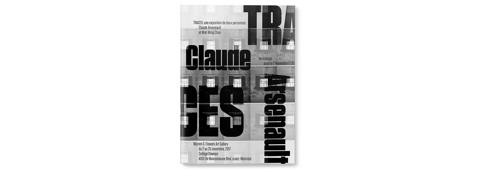 Cover of Traces Catalogue featuring Claude Aresenault's Print