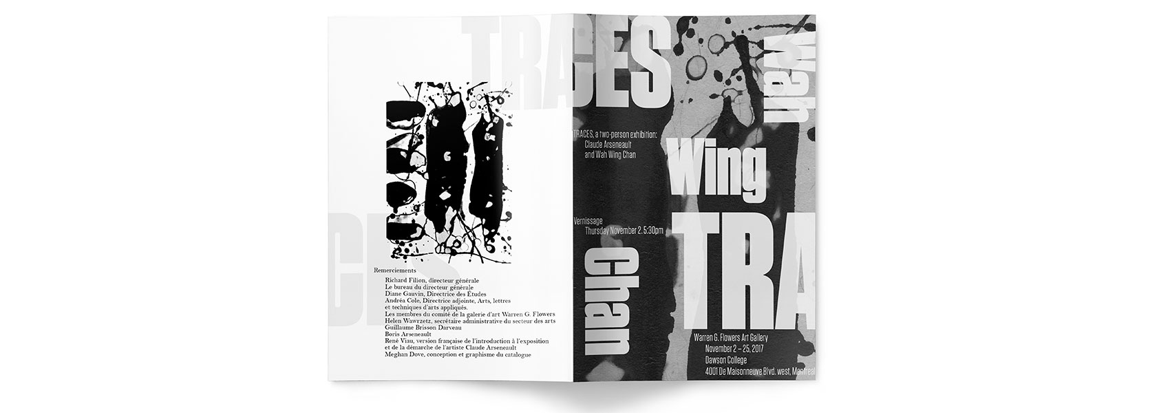 Inside spread of Traces Vernissage Catalogue featuring the print of Wah Wing Chang