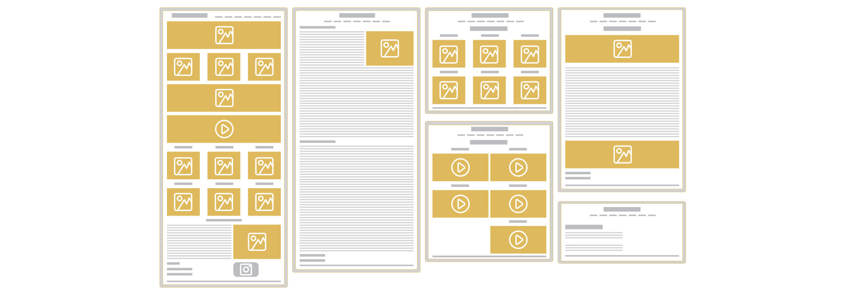 Wireframes detailing existing site structure
